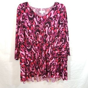 Susan Graver pink tiered ruffle tunic top 1X